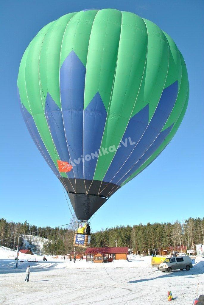 Полет на воздушном шаре зимой - отрыв от земли
