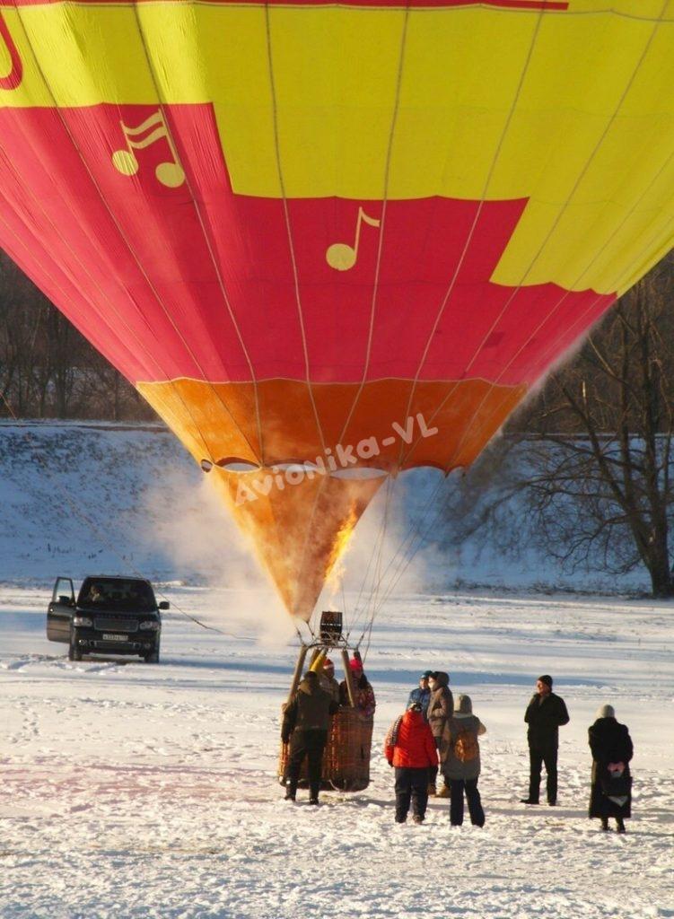 Подъем воздушного шара от Авионики-ВЛ зимой