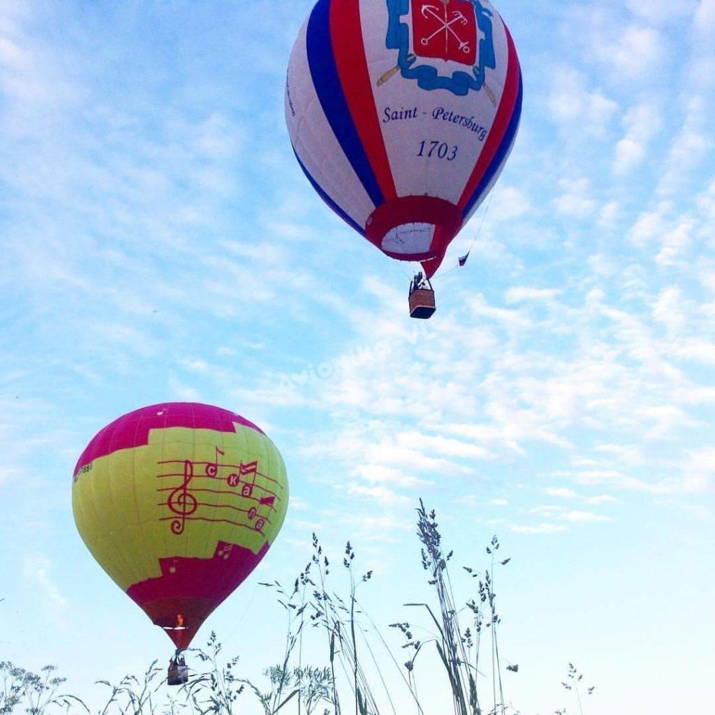 Воздушный шар и аэростат в полете