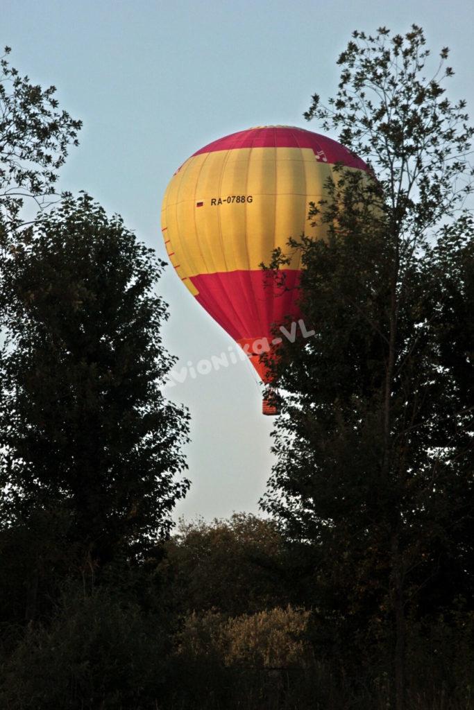 Полет на воздушном шаре над деревьями