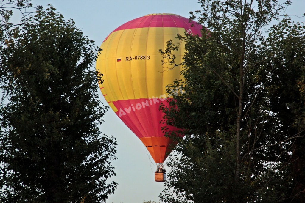 Полет на воздушном шаре из-за деревьев